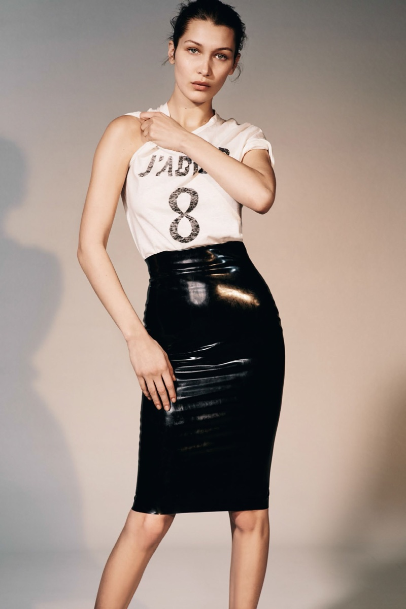 Bella Hadid poses in Dior t-shirt and form-fitting pencil skirt