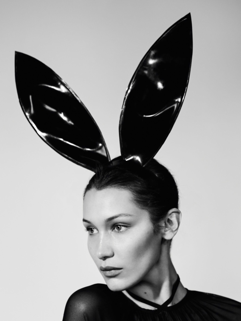 Taking on the fetish trend, Bella Hadid wears latex bunny ears