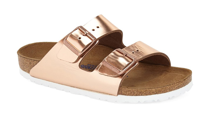 Birkenstock Arizona Soft Footbed Sandal in Copper Leather $134.95