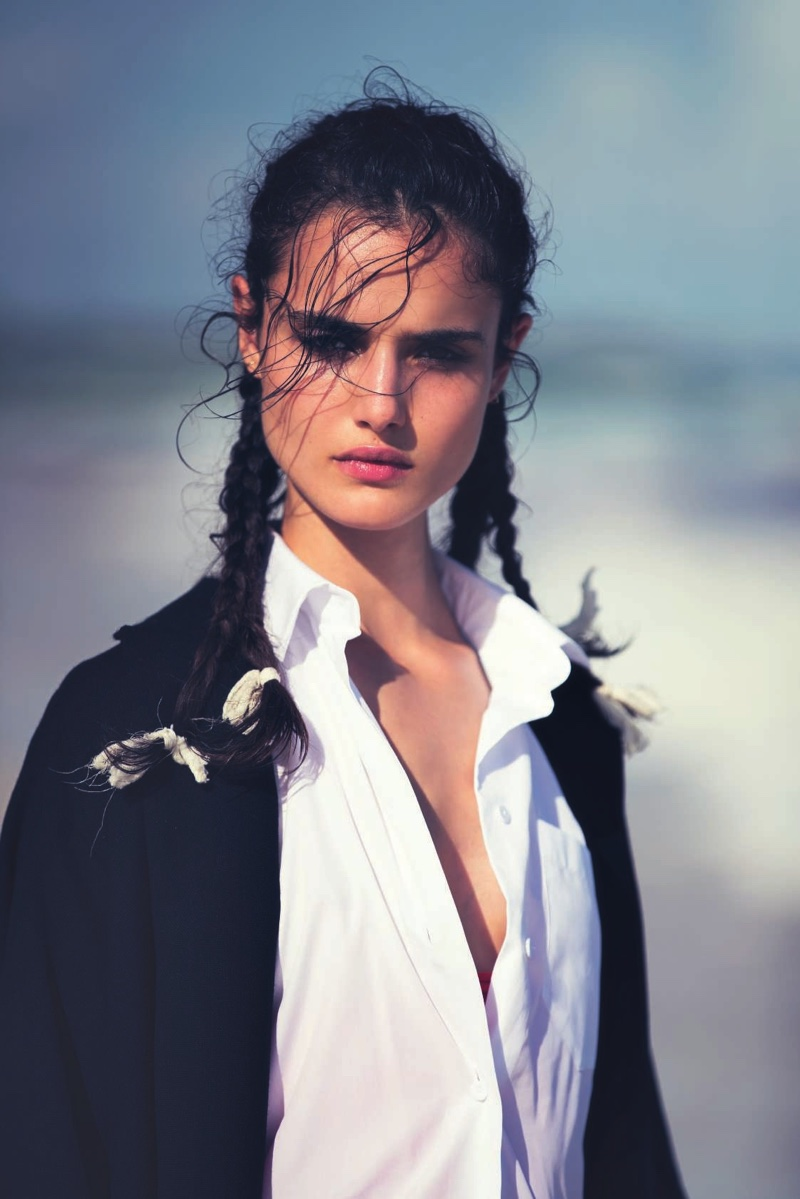 Getting her closeup, Blanca Padilla models Valentino sweater and top