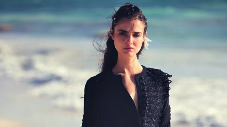 Blanca Padilla models Ermanno Scervino caftan with pleating
