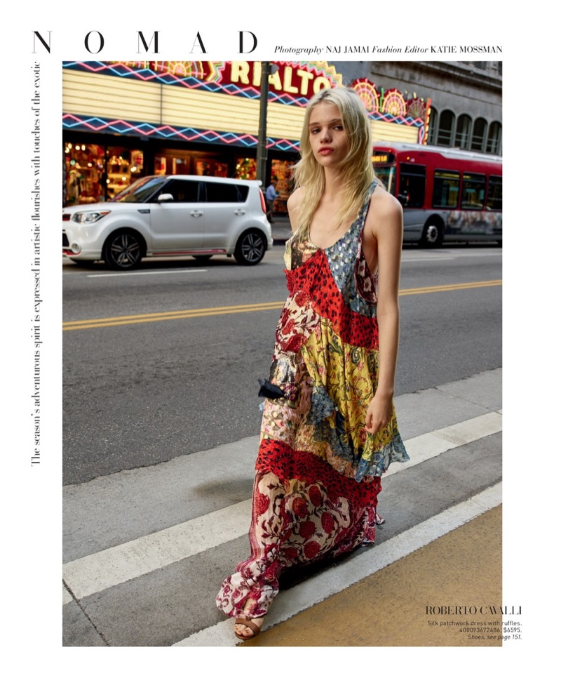Roberto Cavalli Long Silk Patchwork Dress $6,595