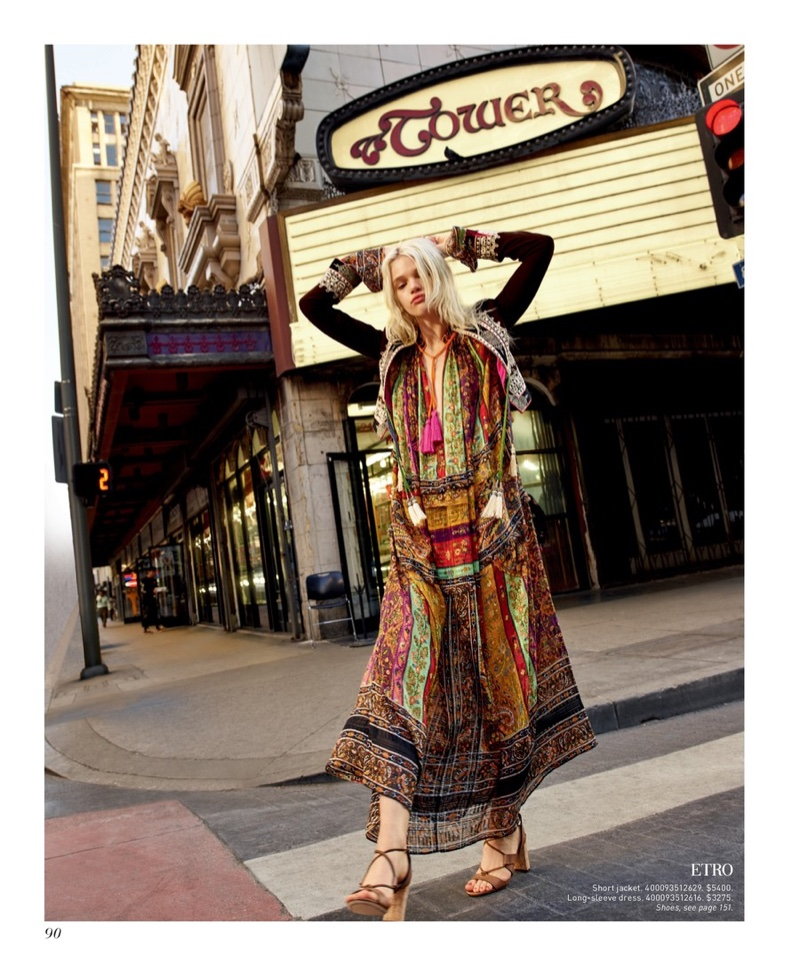 Etro Embroidered Silk Jacket $5,400, Etro Printed Silk Caftan $3,275 and Jimmy Choo Margo 80 Cork-Heel Leather Lace-Up Sandals $750