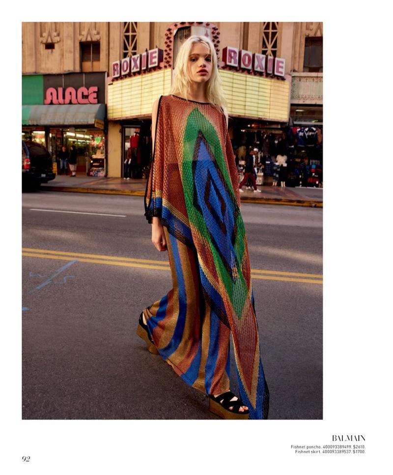 Balmain Fishnet Inca-Print Gown $2,610 and Fishnet Long Striped Skirt $1,700