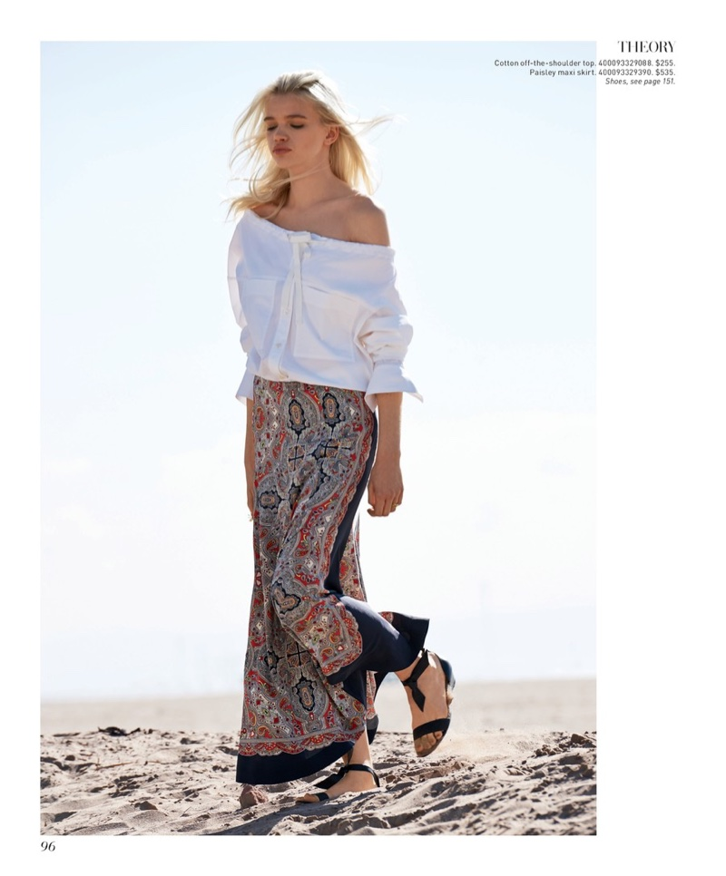 Theory Magena Stretch-Cotton Shirt $255, Theory Bitrah Premont Silk Maxi Skirt $535 and Alexandre Birman Atenah Woven Leather Demi-Wedge Sandals