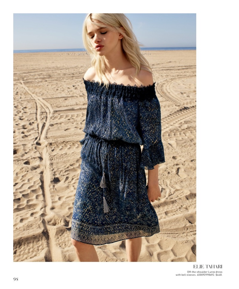 Elie Tahari Off-the-Shoulder Dress with Bell Sleeves $448