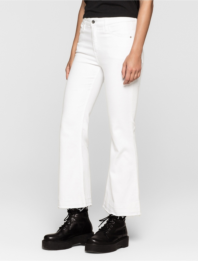 Calvin Klein Jeans Flared Clean White Cropped Jeans