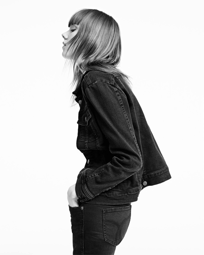 1f481177f9c ... Kiki Willems models black denim trucker jacket in Calvin Klein Jeans  spring 2017 campaign