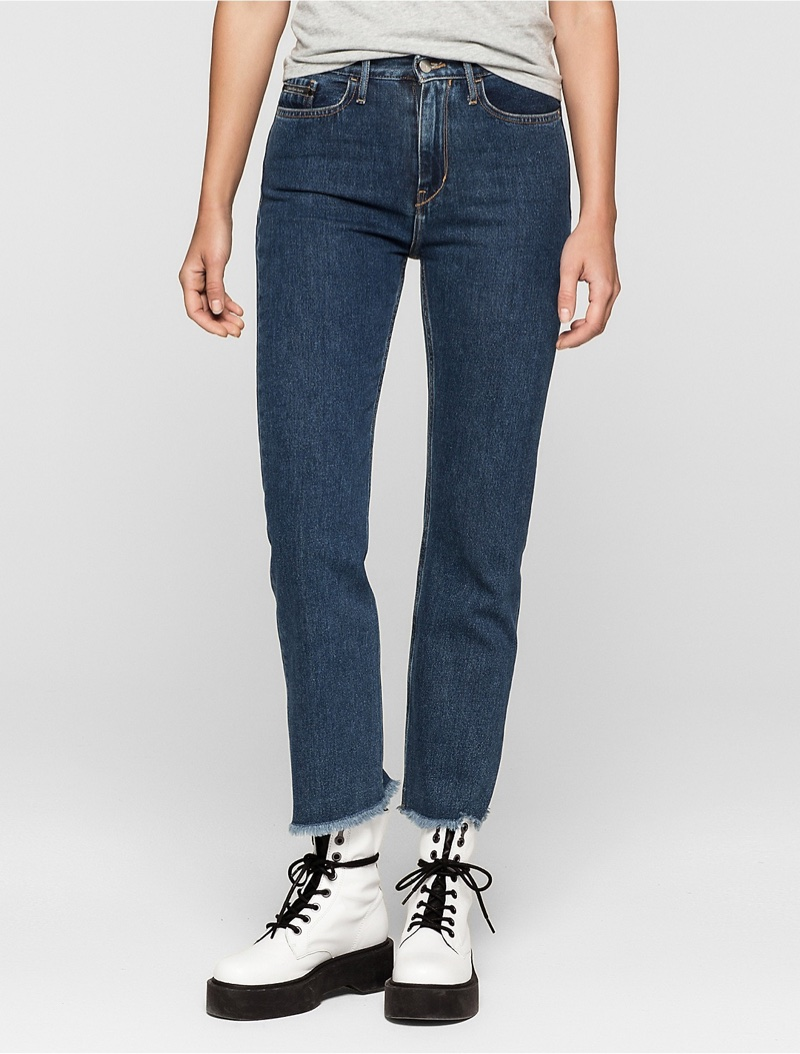 Calvin Klein Jeans Straight Fit Blue Stonewash Cropped Jeans