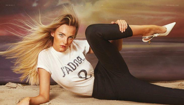 Caroline Trentini models Dior t-shirt, pants and heels
