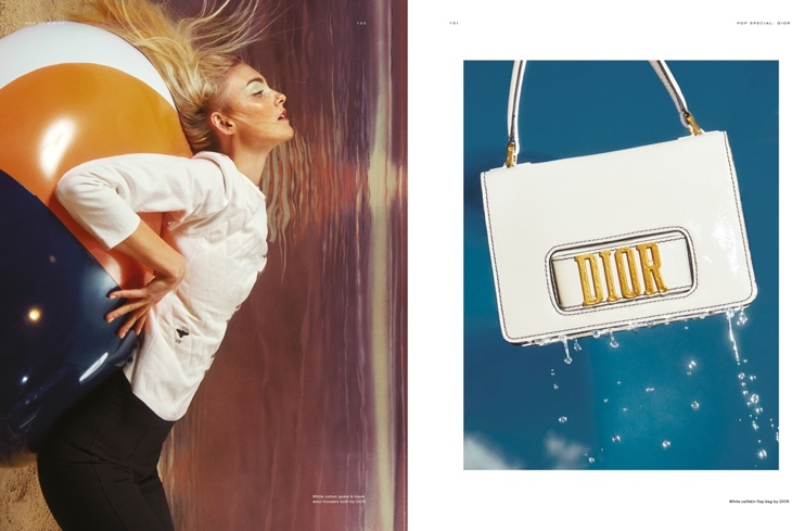 (Left) Caroline Trentini poses in Dior quilted jacket and pants (Right) Dior handbag