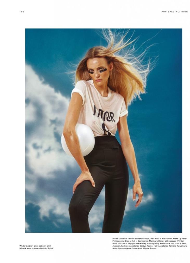 Caroline Trentini poses in Dior ensemble for POP Magazine