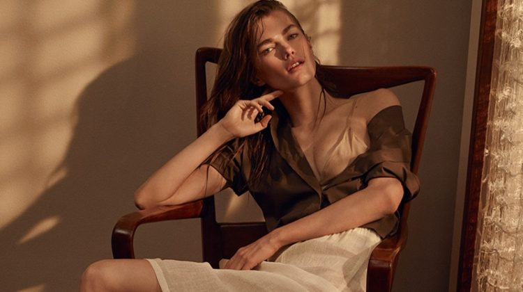 Mathilde Brandi models studded sandals in Cesare Paciott's spring 2017 campaign