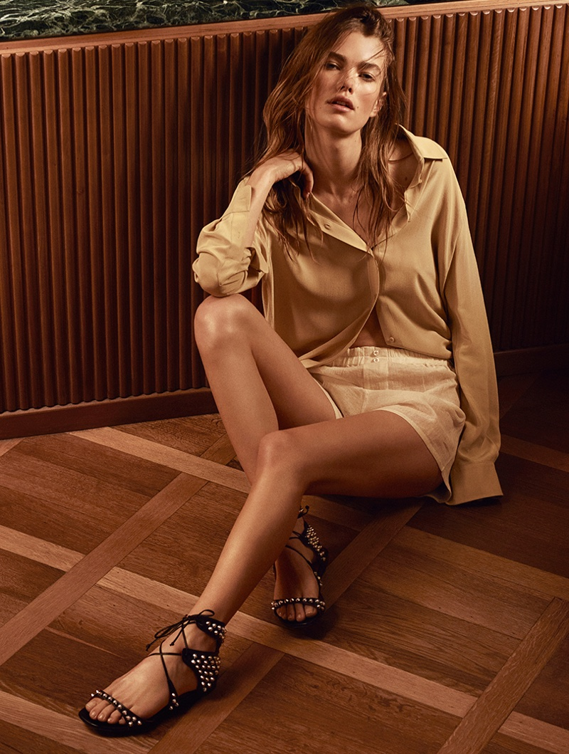 Mathilde Brandi poses in strappy sandals for Cesare Paciotti's spring 2017 campaign