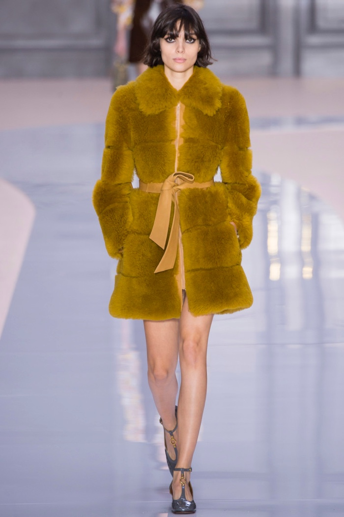 Fur coat with tied sash from Chloe's fall-winter 2017 collection
