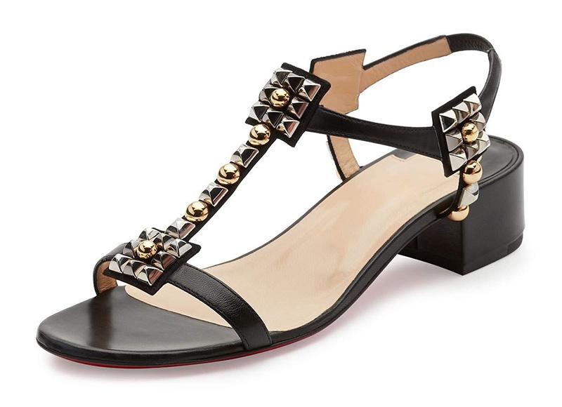 Christian Louboutin Kaleidra Spike T-Strap Red Sole Sandal