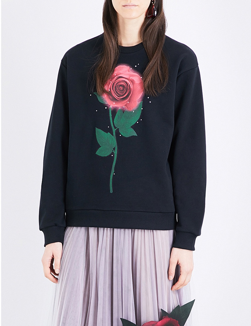 Christopher Kane x Beauty and the Beast Swarovski Rose Cotton Sweatshirt