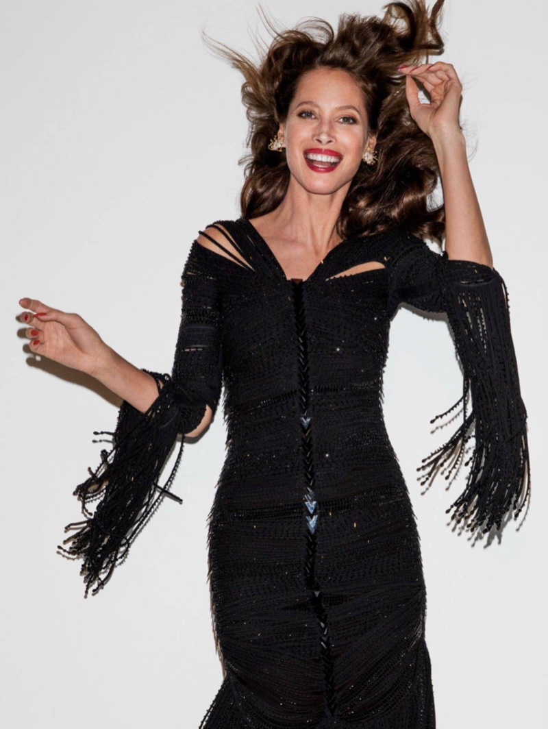 Christy Turlington models Givenchy Haute Couture gown with fringe
