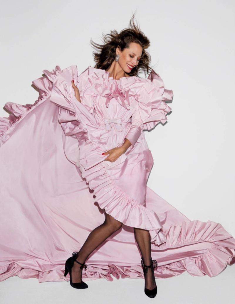 Looking pretty in pink, Christy Turlington models Giambattista Valli gown