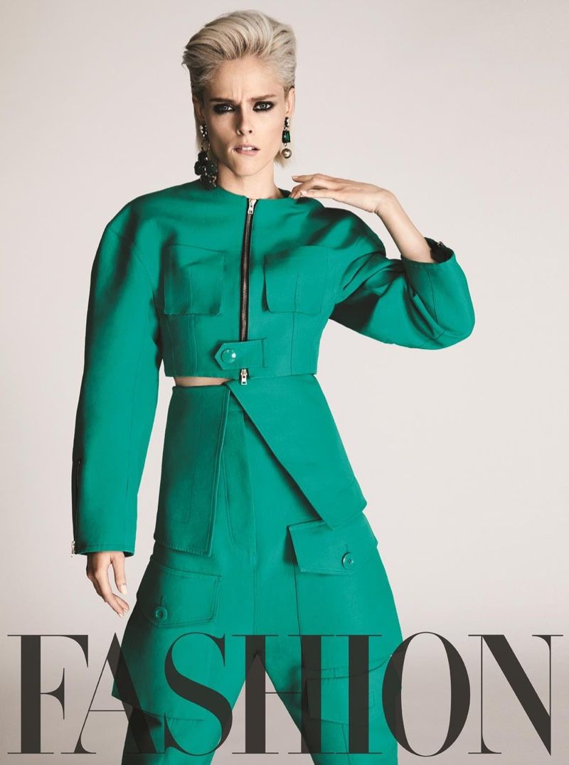 Channeling the 80's, Coco Rocha wears Marni jacket, pants and earrings