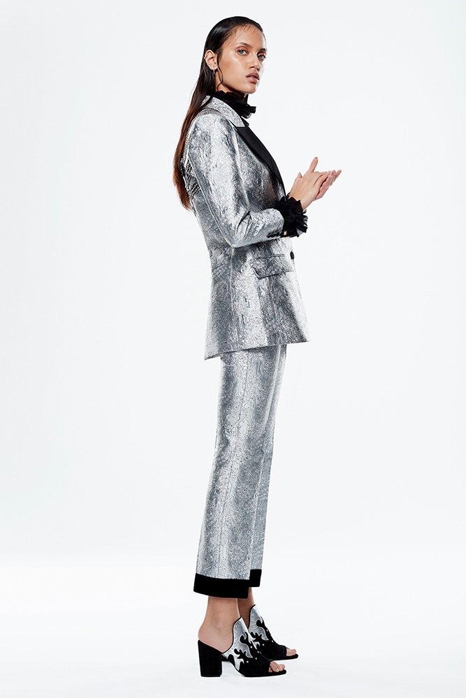 Dalianah Arekion suits up in silver embroidered pantsuit from Gucci