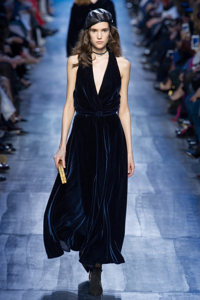 Velvet wrap maxi dress from Dior's fall-winter 2017 collection