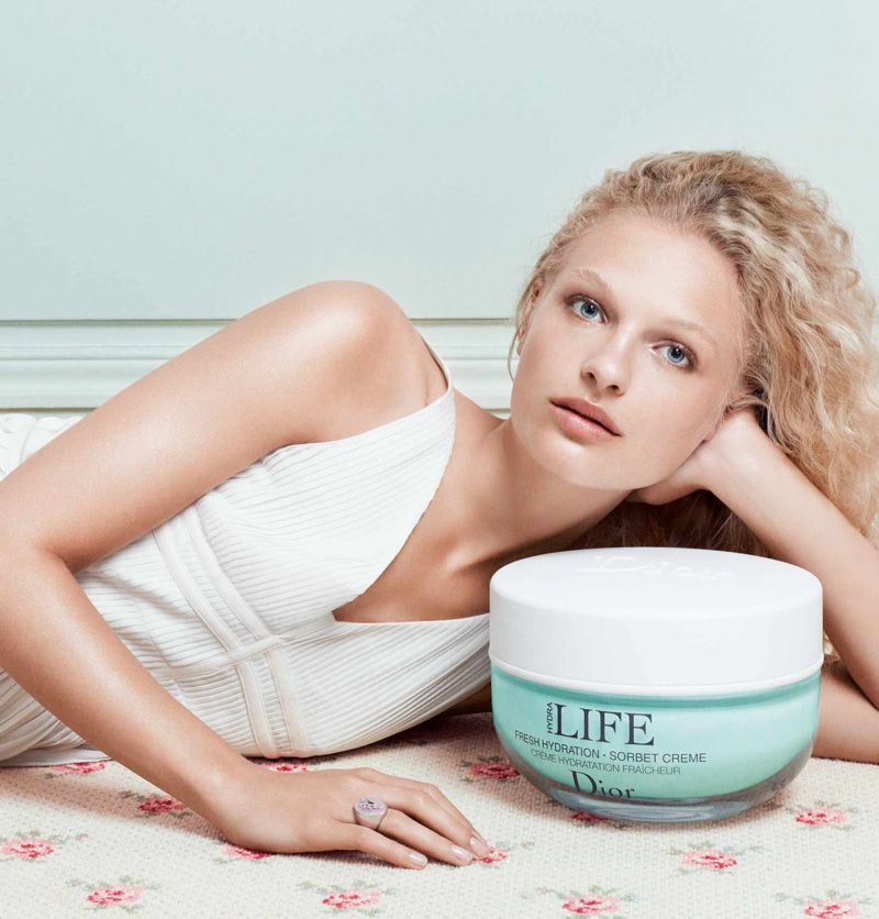Frederikke Sofie poses for Dior Hydra Life campaign