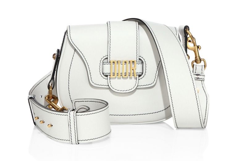 Dior Medium D-Fence Leather Saddle Bag in White