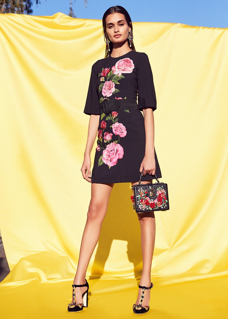 Dolce & Gabbana Cady Rose Print Mini Dress, Cross Earrings, Studded Soft Bag and Jewel Embellished Velvet T Strap Heels