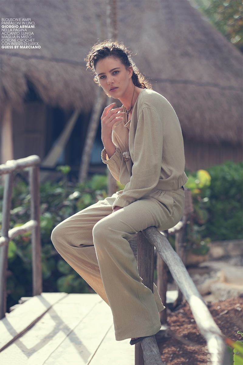 Taking it easy, Eliza Cummings models Giorgio Armani linen top and pants