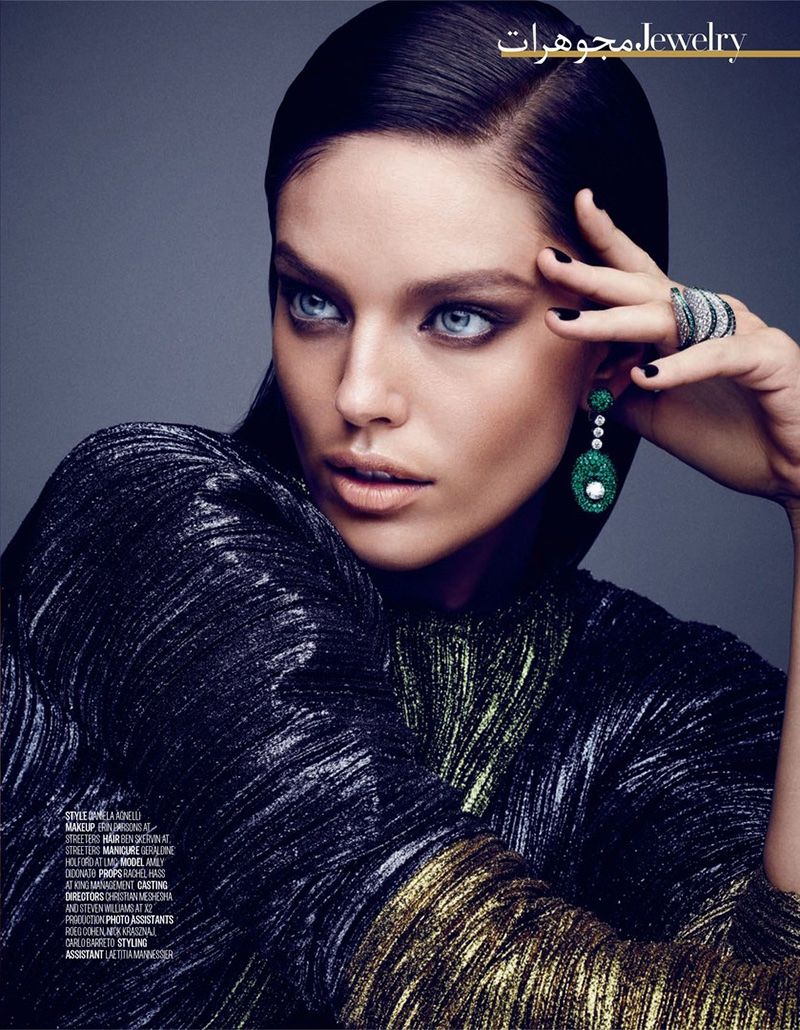 Emily Didonato Poses In De Grisogono Earrings And Ring With Haider Ackermann Top