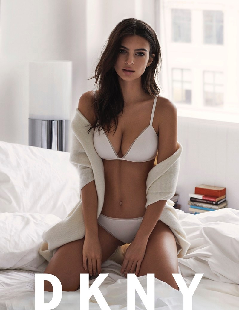 Emily Ratajkowski  Lounges in Bed for DKNY Intimates Campaign