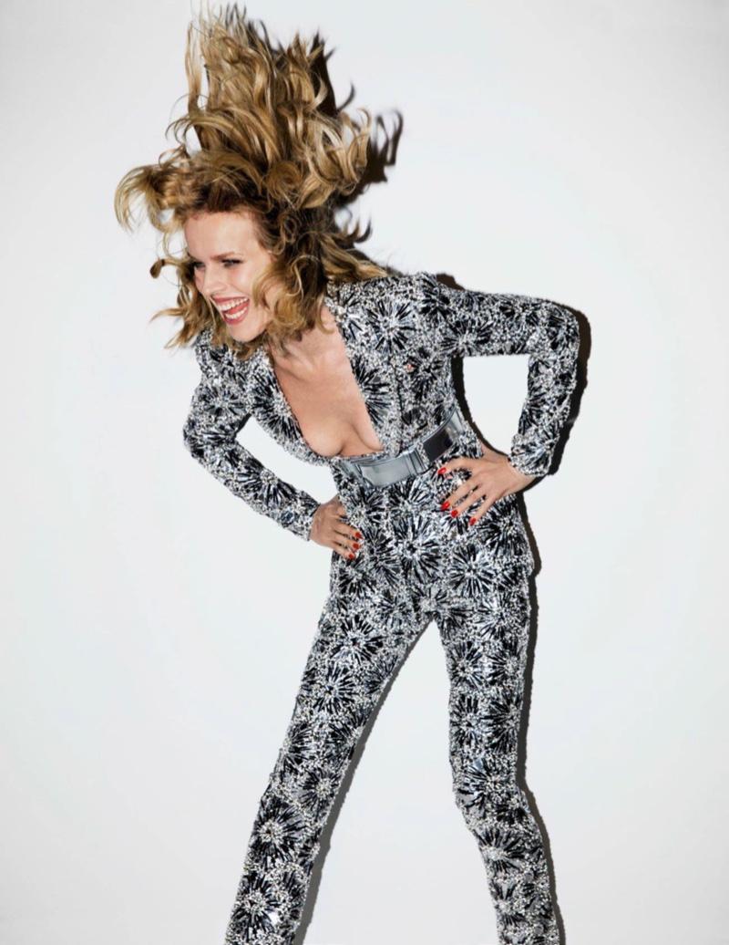 Eva Herzigova rocks embellished Chanel Haute Couture pant suit