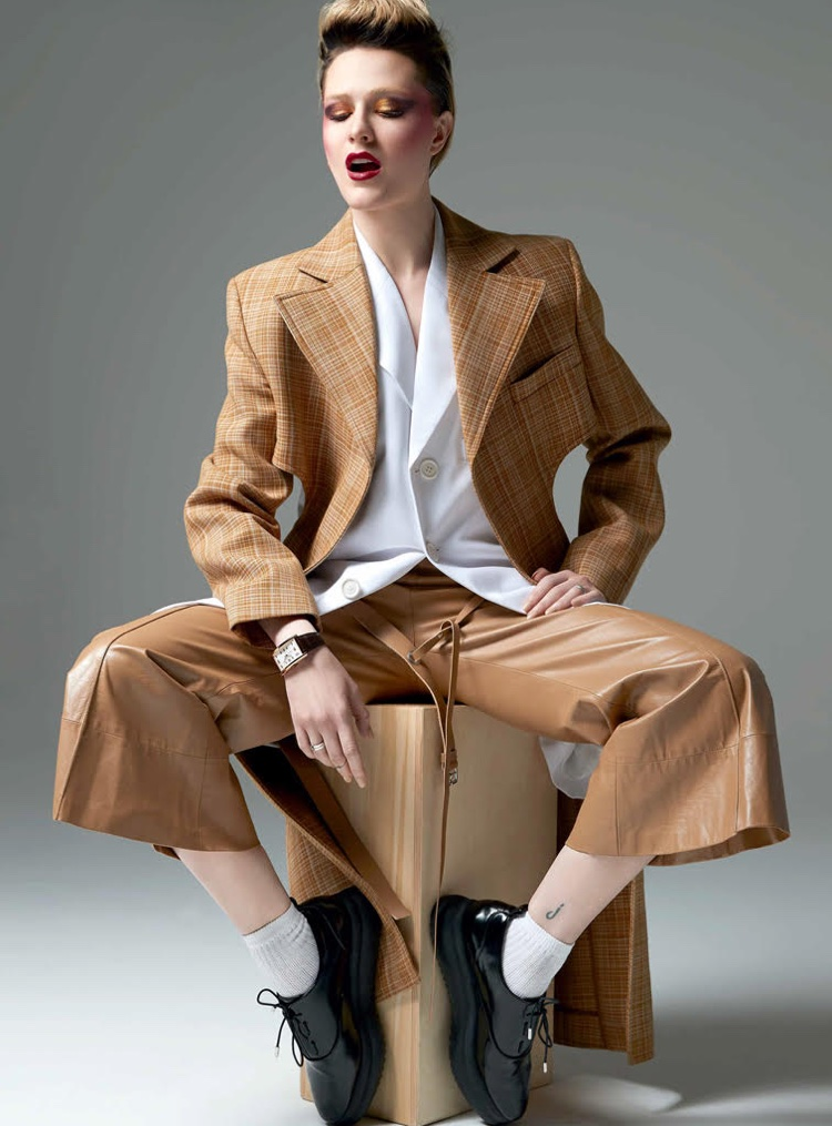 Evan Rachel Wood poses in Celine wool coat, jacket and trousers with Zara faux leather shoes