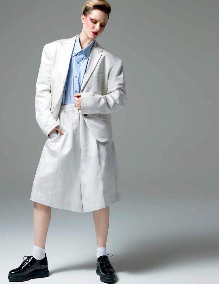 Evan Rachel Wood models Jil Sander jacket, shorts and shirt with Zara platform shoes