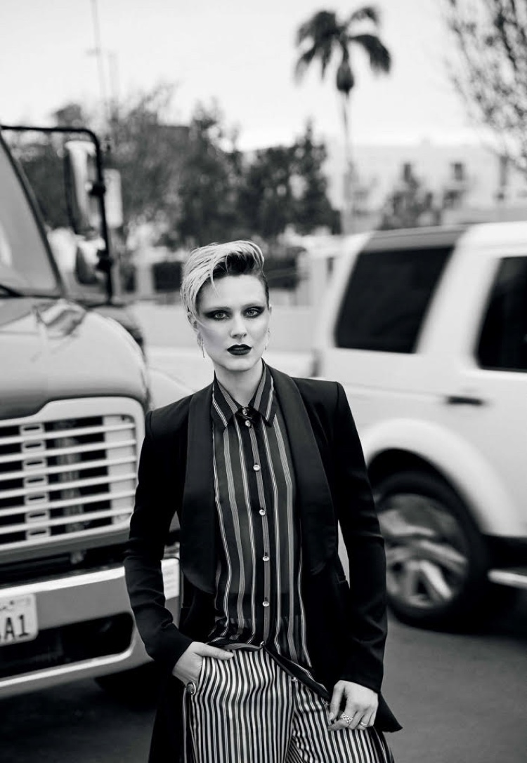 Actress Evan Rachel Wood poses in Prabal Gurung jacket with Lanvin silk dress and satin trousers
