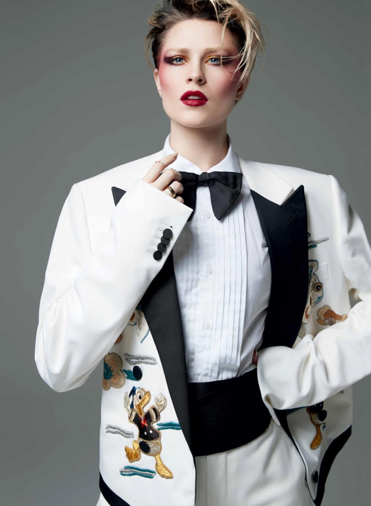 Evan Rachel Wood poses in Gucci cotton twill suit, shirt, bow-tie and cummerbund