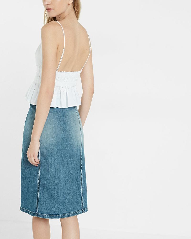 Express Button Front Denim Midi Skirt