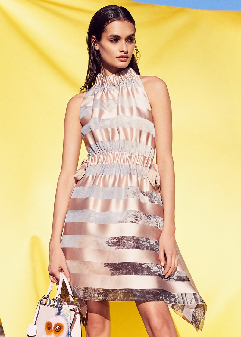 Fendi Sleeveless Mini Dress and Floral Studded 3Jours Mini Bag
