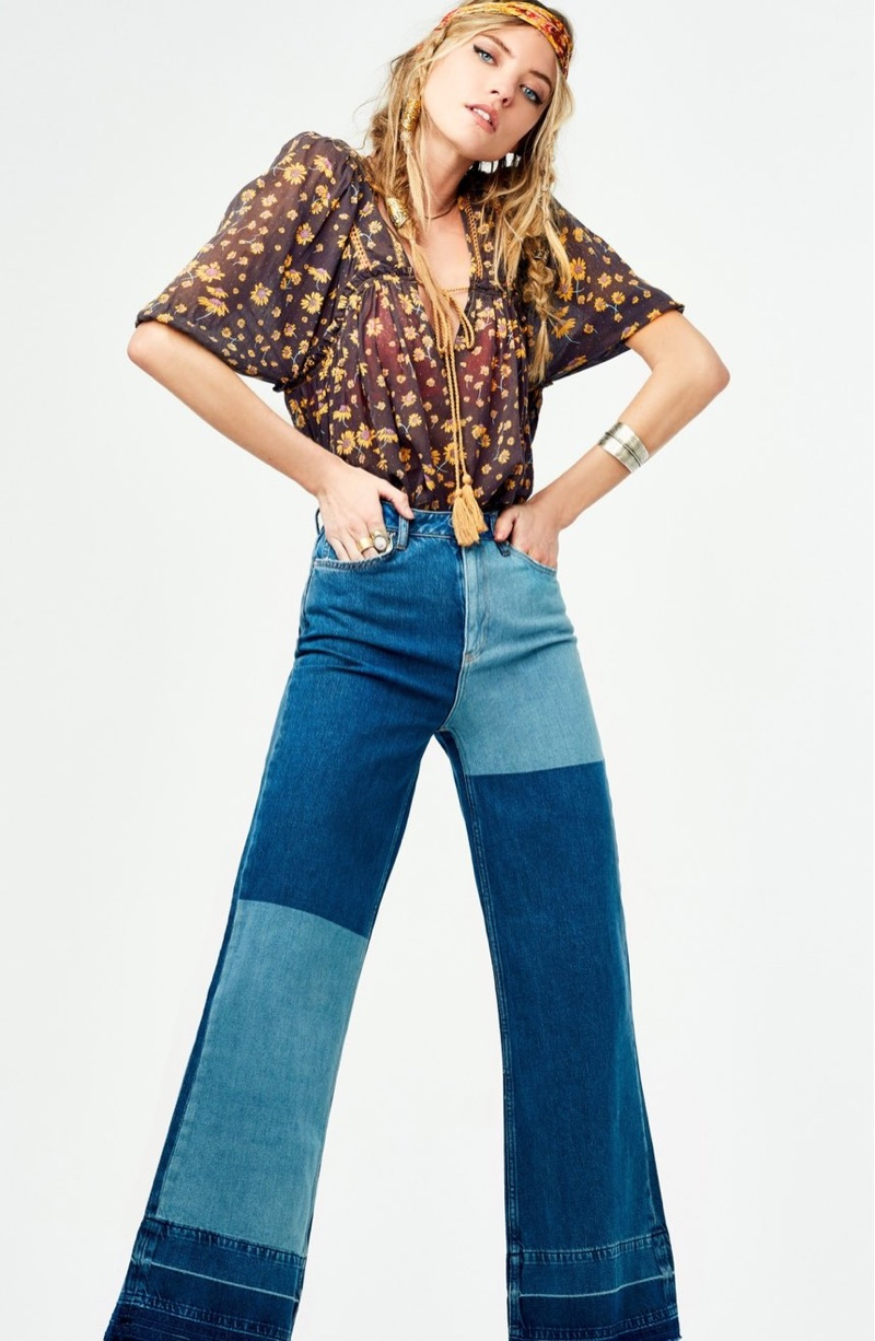 Free People Daisy Cotton Blouse and The Wideleg High Waist Patchwork Jeans