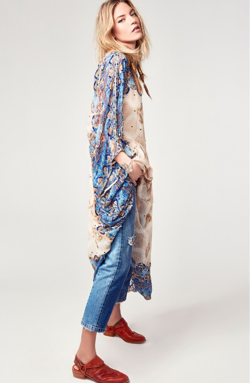 Free People One Day Midi Dress and The Patchwork High Waist Crop Jeans