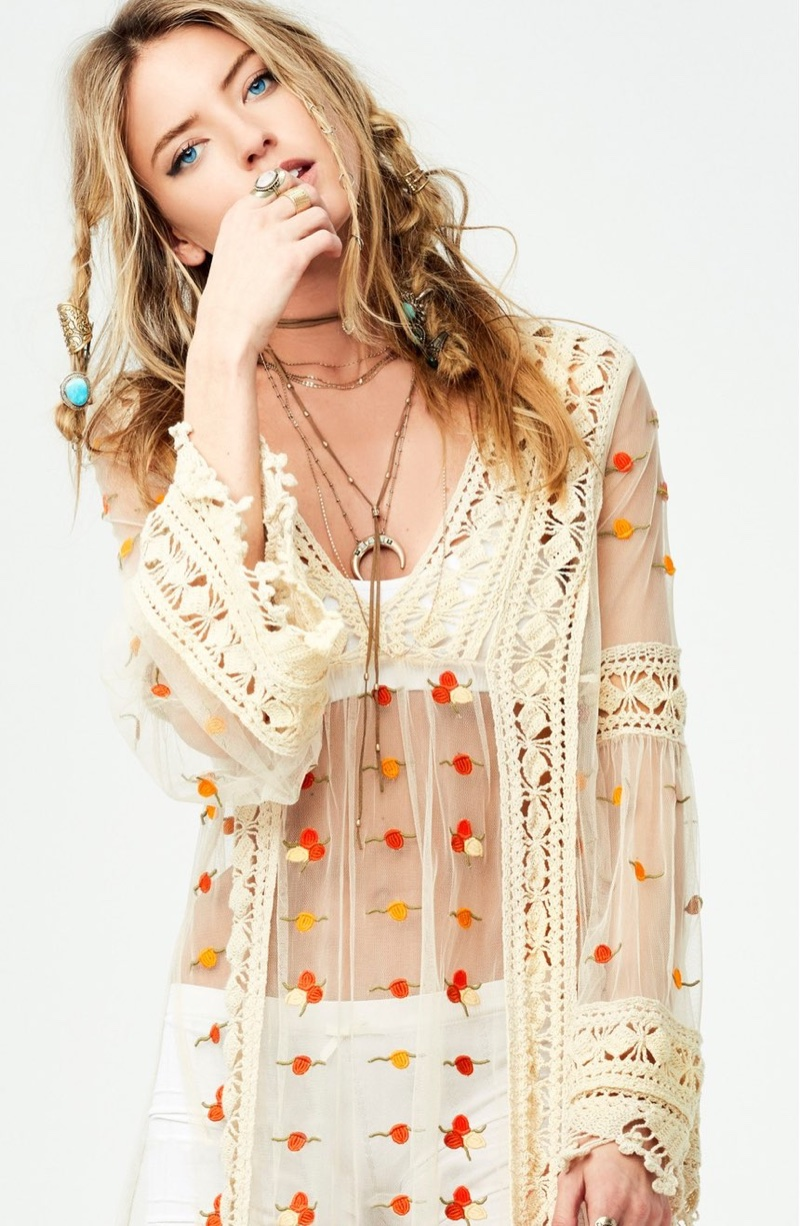 Free People Finest Heart Lace Maxi Tunic