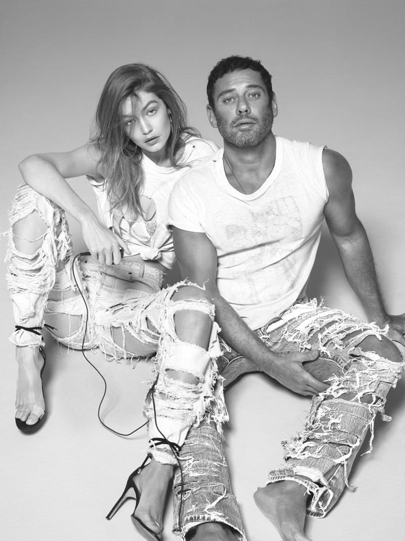 Gigi Hadid and Mert Alas rock distressed denim styles