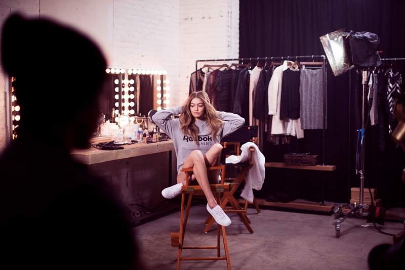 Model Gigi Hadid poses in Reebok's spring 2017 advertising campaign