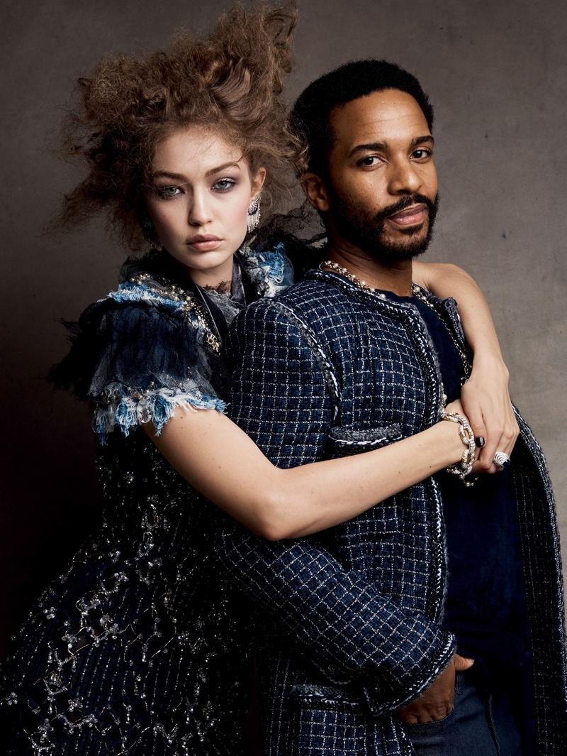 Alongside Andre Holland, Gigi Hadid models Chanel pearl embroidered dress