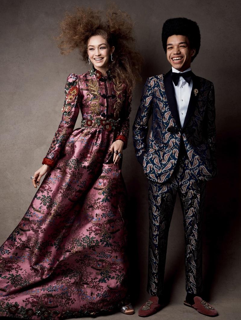 Alongside Justice Smith, Gigi Hadid models Gucci jacquard dress and shoes