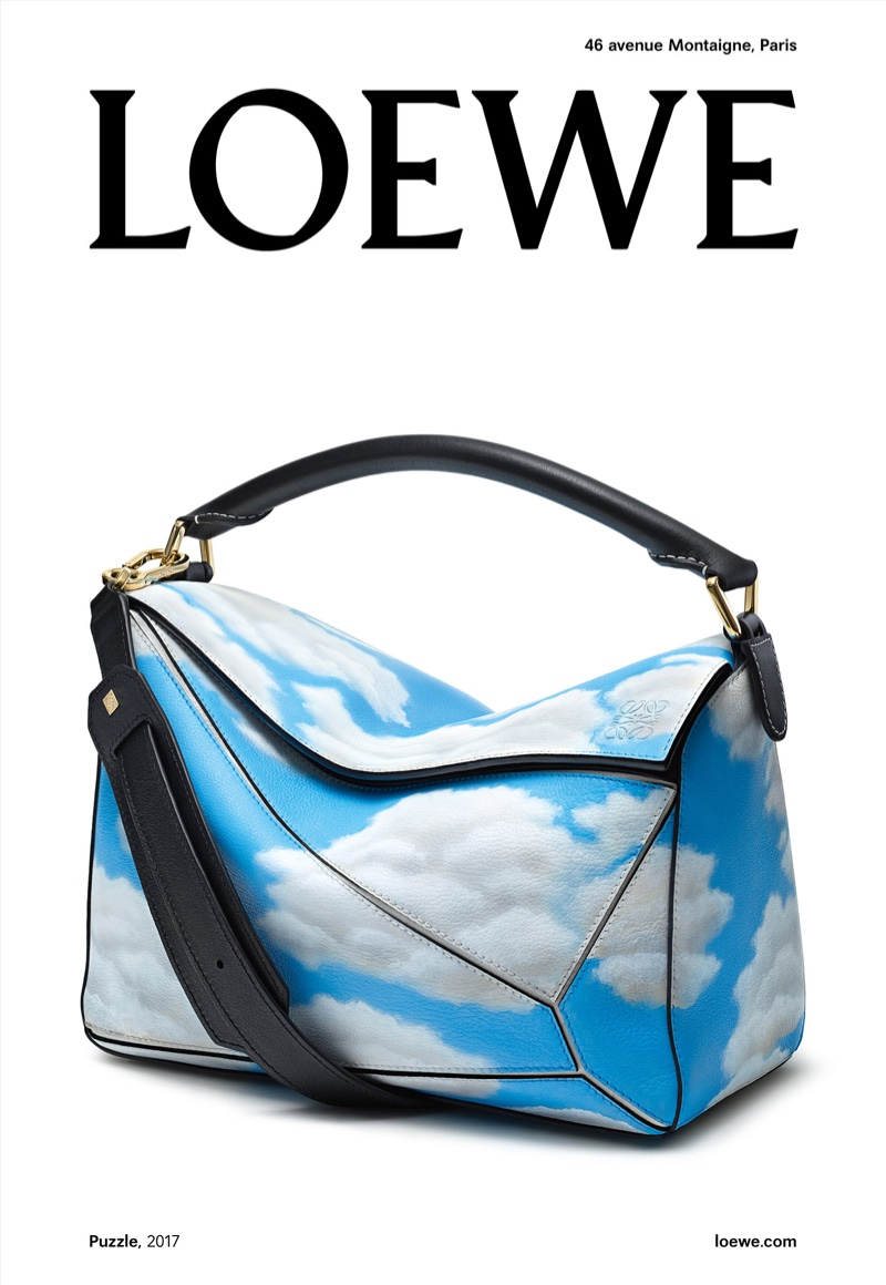 Cloud print handbag from Loewe's fall 2017 campaign