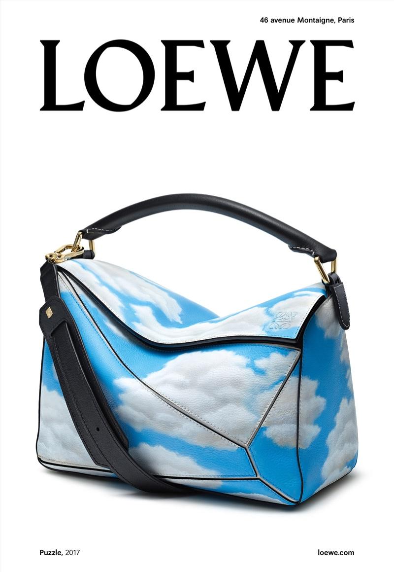 Cloud print handbag from Loewe's fall 2017 campaign