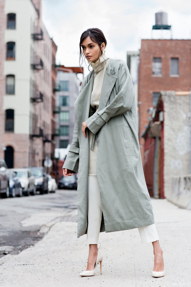 The9thMuse Paula Ear Cuff, COS Belted Coat, Ellery Dress, Reiss Tori Pants and Stuart Weitzman Peekabow Heels