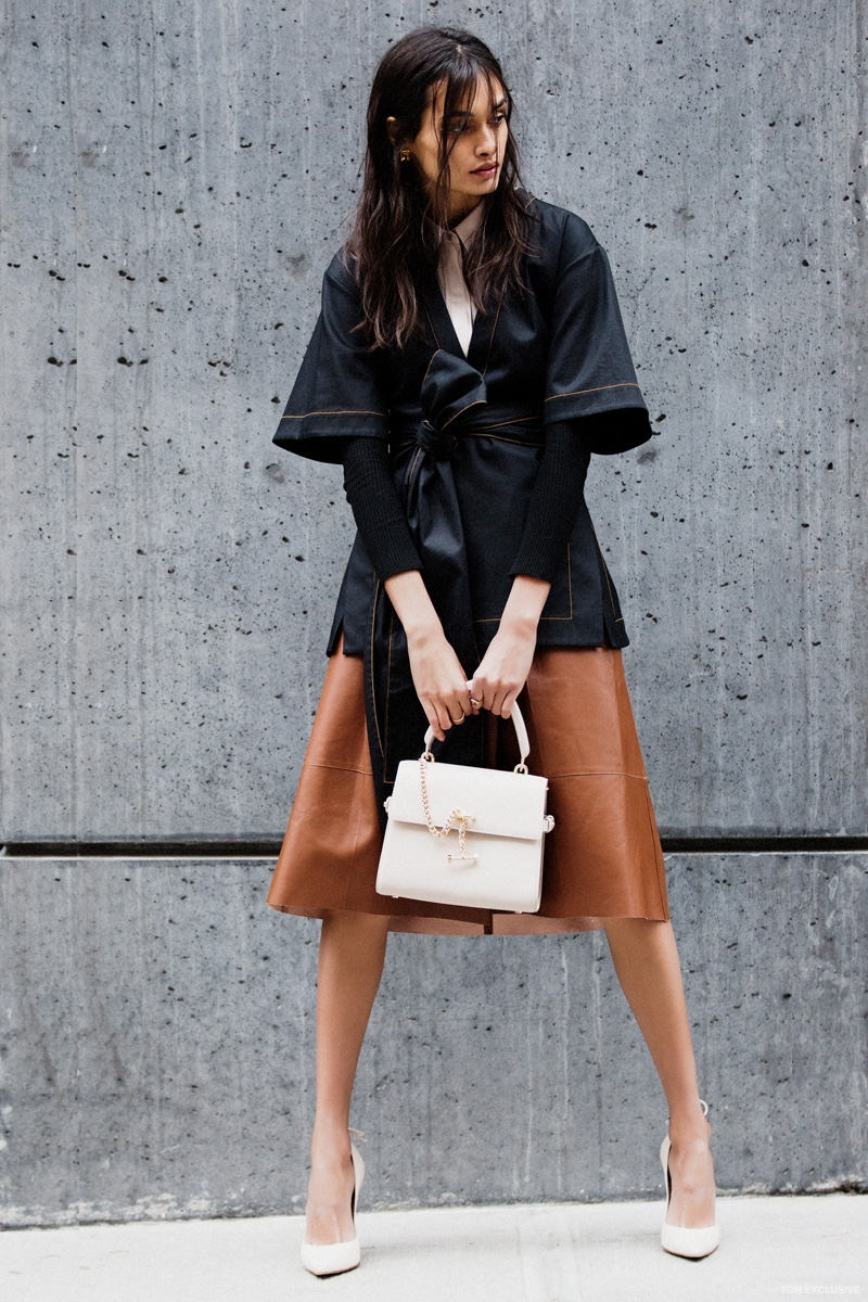 Reiss Bonn Top, Ellery Black Top, Tibi Seamless Ribbed Corset Waisted Pullover, Luana Italy Paley Mini Satchel, Paule Ka Havana Leather Skirt and Stuart Weitzman Peekabow Heel